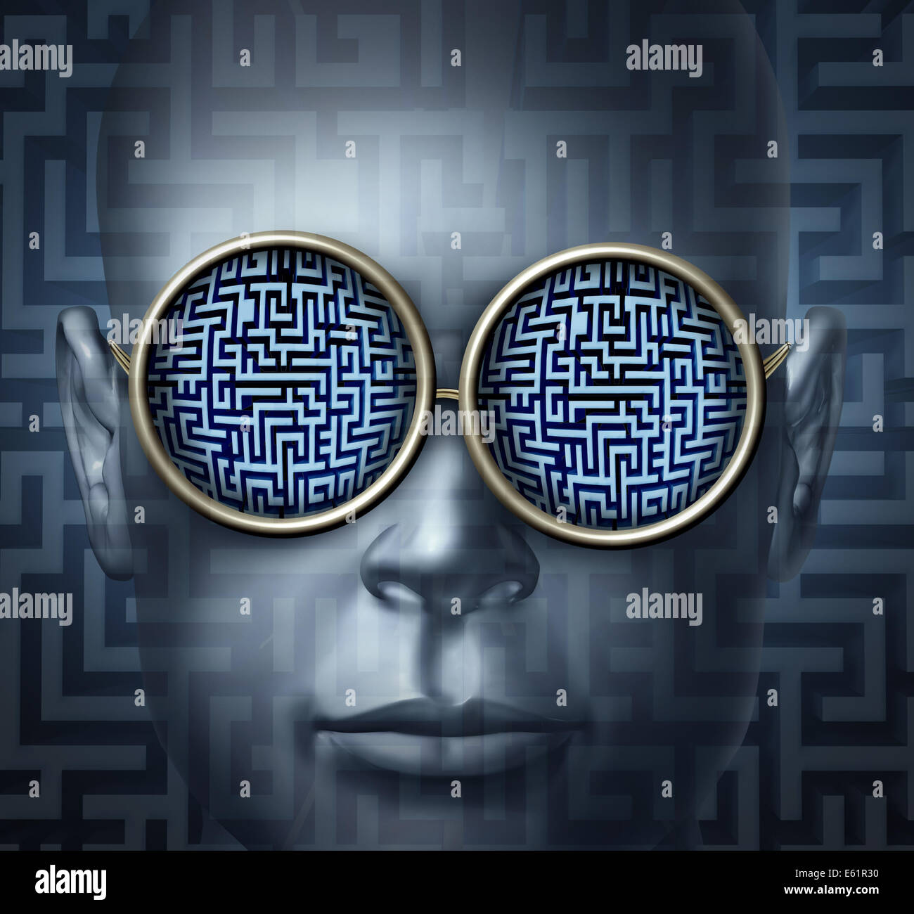 Global solutions business concept as a human head wearing glasses with a maze or labyrinth as a symbol for guidance - Stock Image