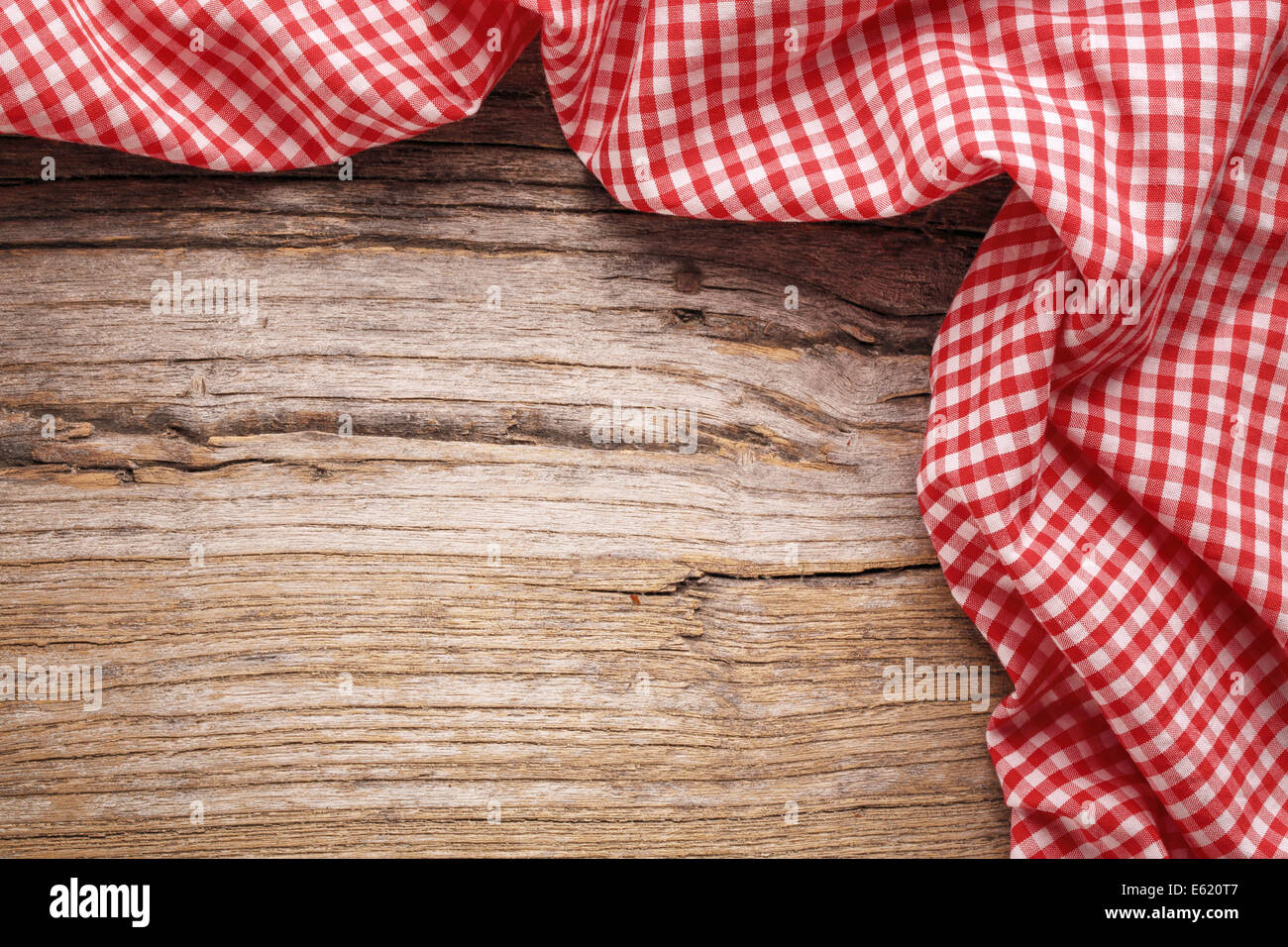 checkered tablecloth on wooden table stock photo 72573991 alamy