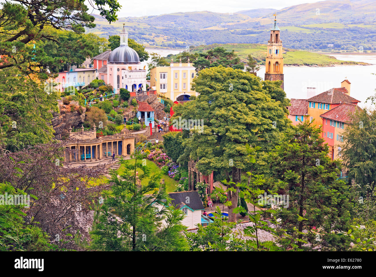 View over Portmeirion Village and Whitesands Bay, Wales Stock Photo