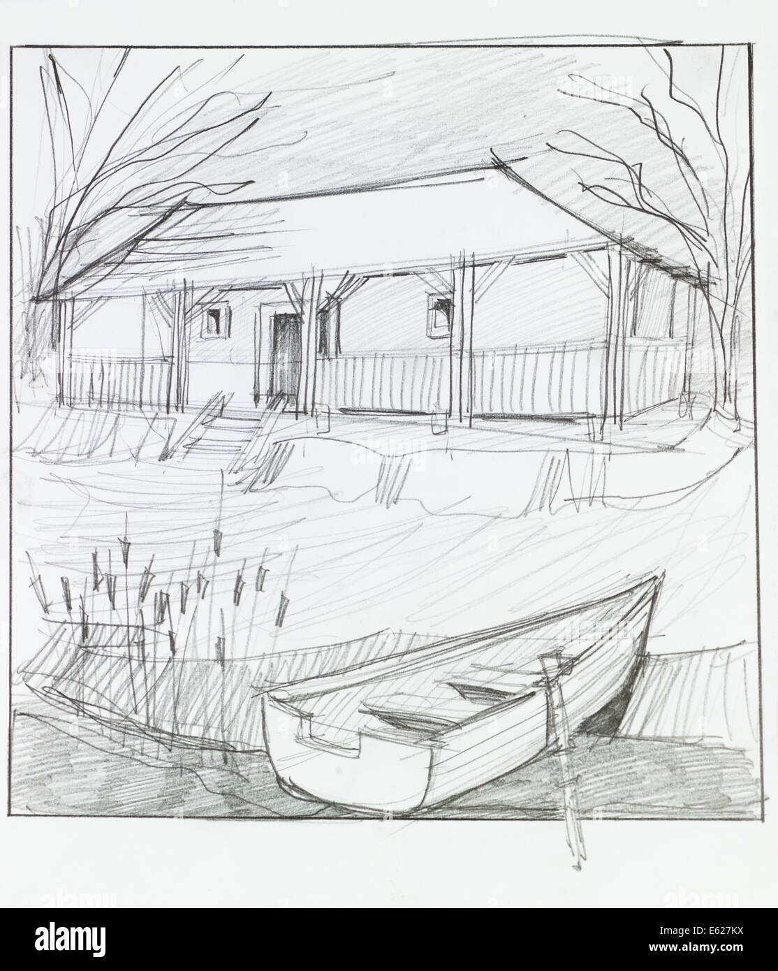 hand drawn illustration of countryside house with lake in front and ... for Countryside House Drawing  303mzq