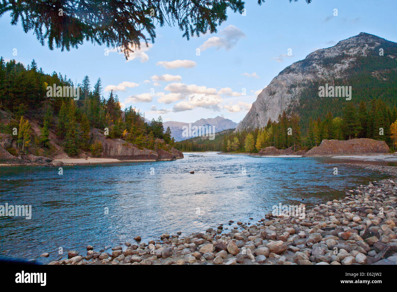 Bow River flows near Banff in Banff National Park Alberta, Canada Stock Photo