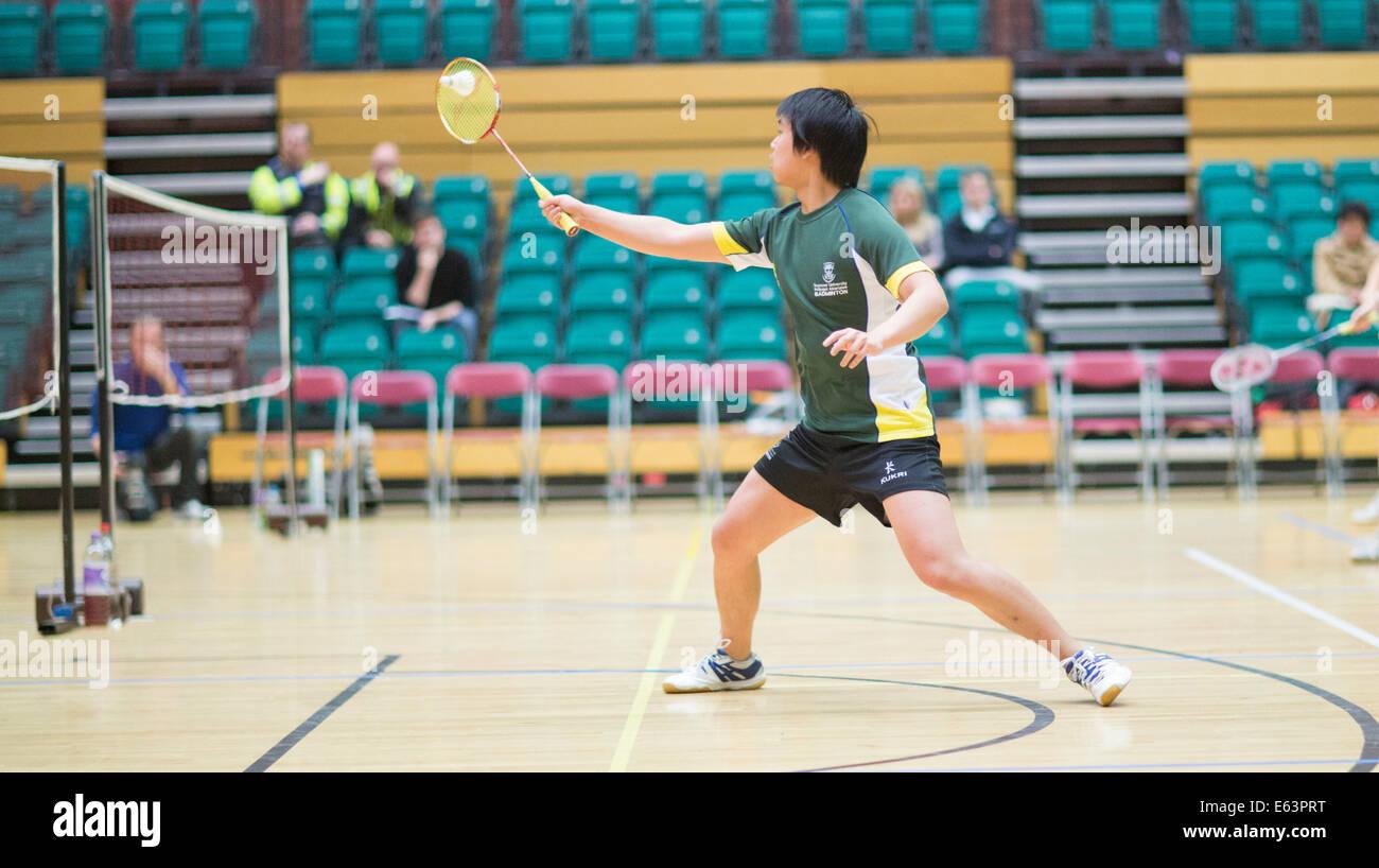 Swansea University v Cardiff University Varsity 2014 Men's Badminton - Stock Image