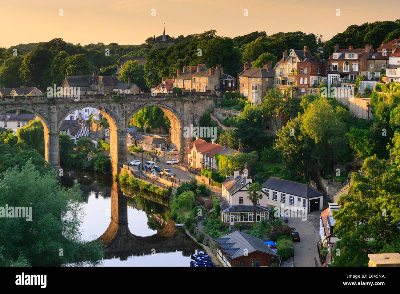 Viaduct and River Nidd at Knaresborough Harrogate North Yorkshire England Stock Photo