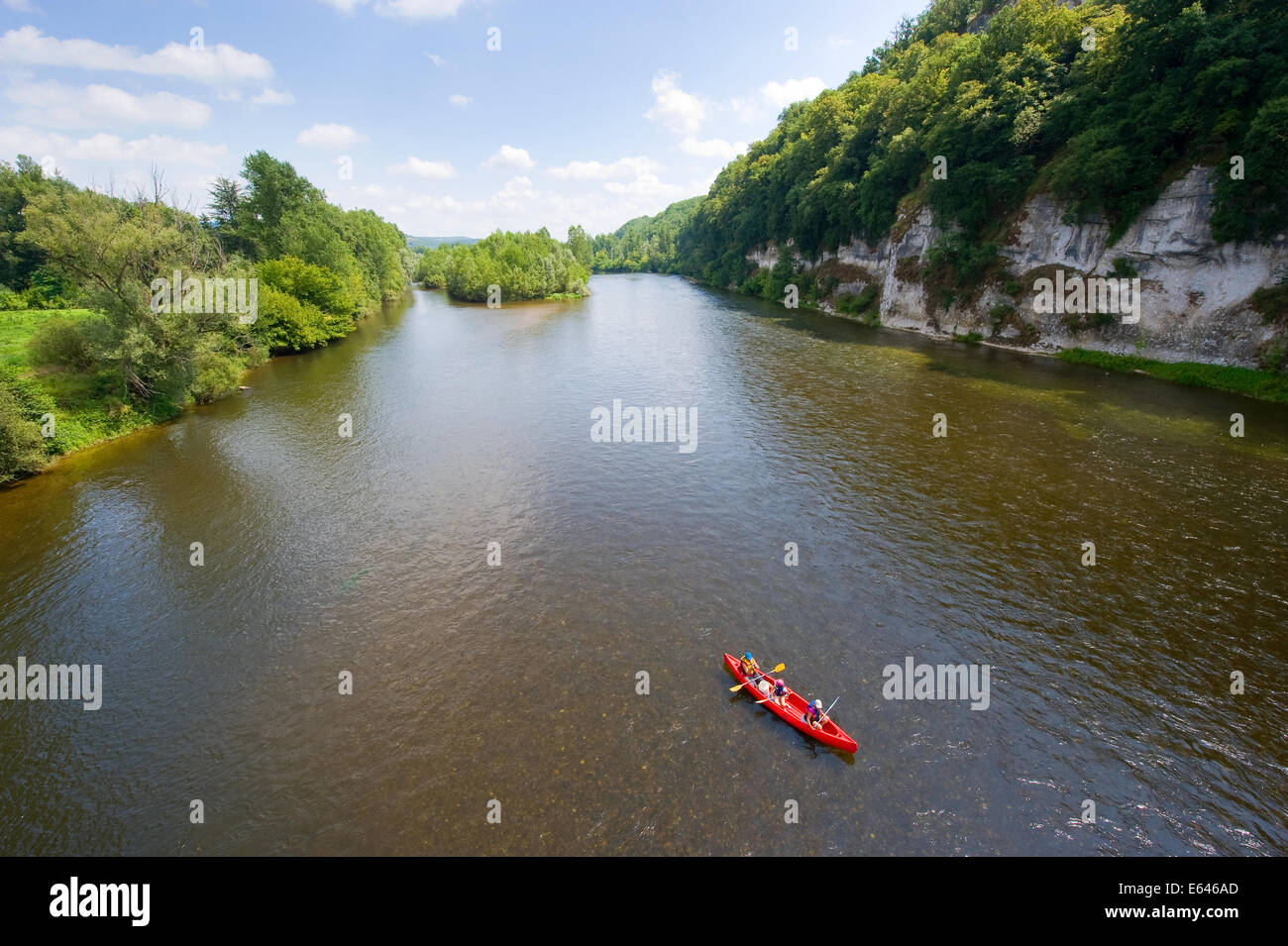 Canoeing on the river Dordogne in France - Stock Image