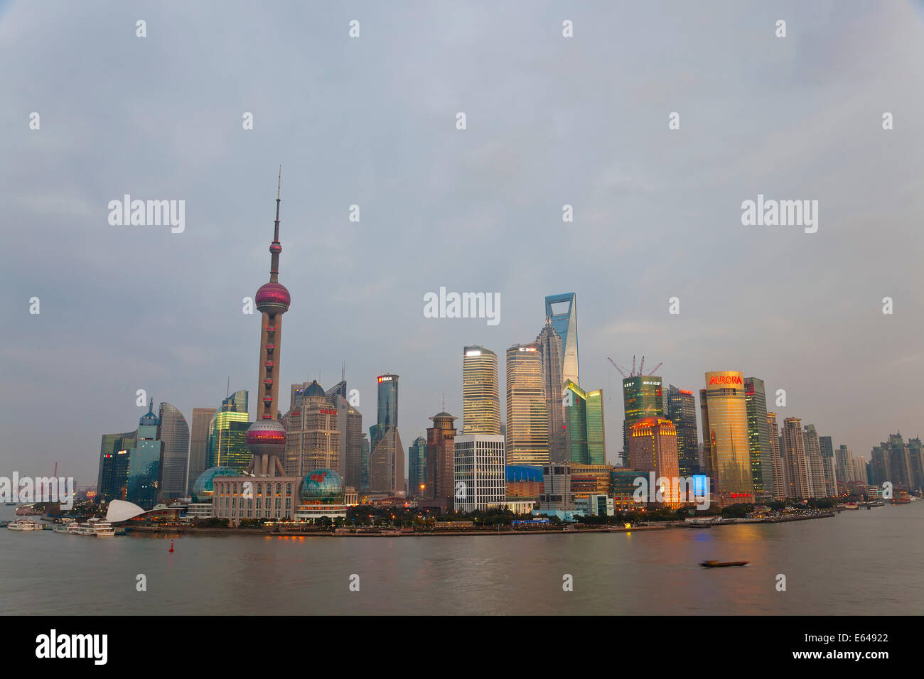 Barges and Pudong skyline, Shanghai, China - Stock Image