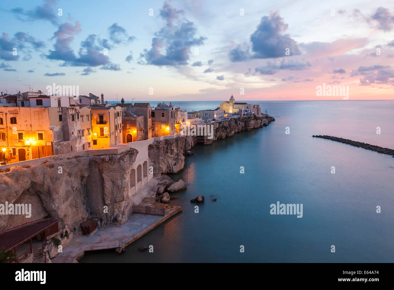 Town with San Francesco church, Vieste, Gargano, Foggia district, Apulia, Puglia, Italy - Stock Image