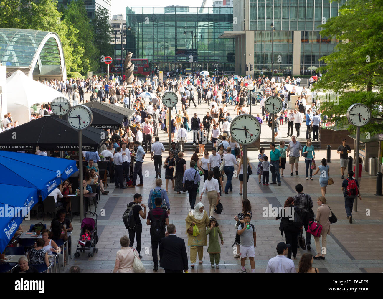 Evening Rush Hour - Canary Wharf - London Stock Photo