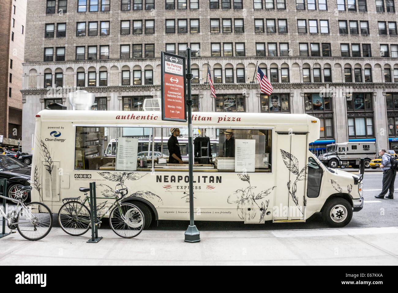 authentic Neapolitan pizza specialty food truck parked on East 34th street Manhattan open for business waiting for - Stock Image