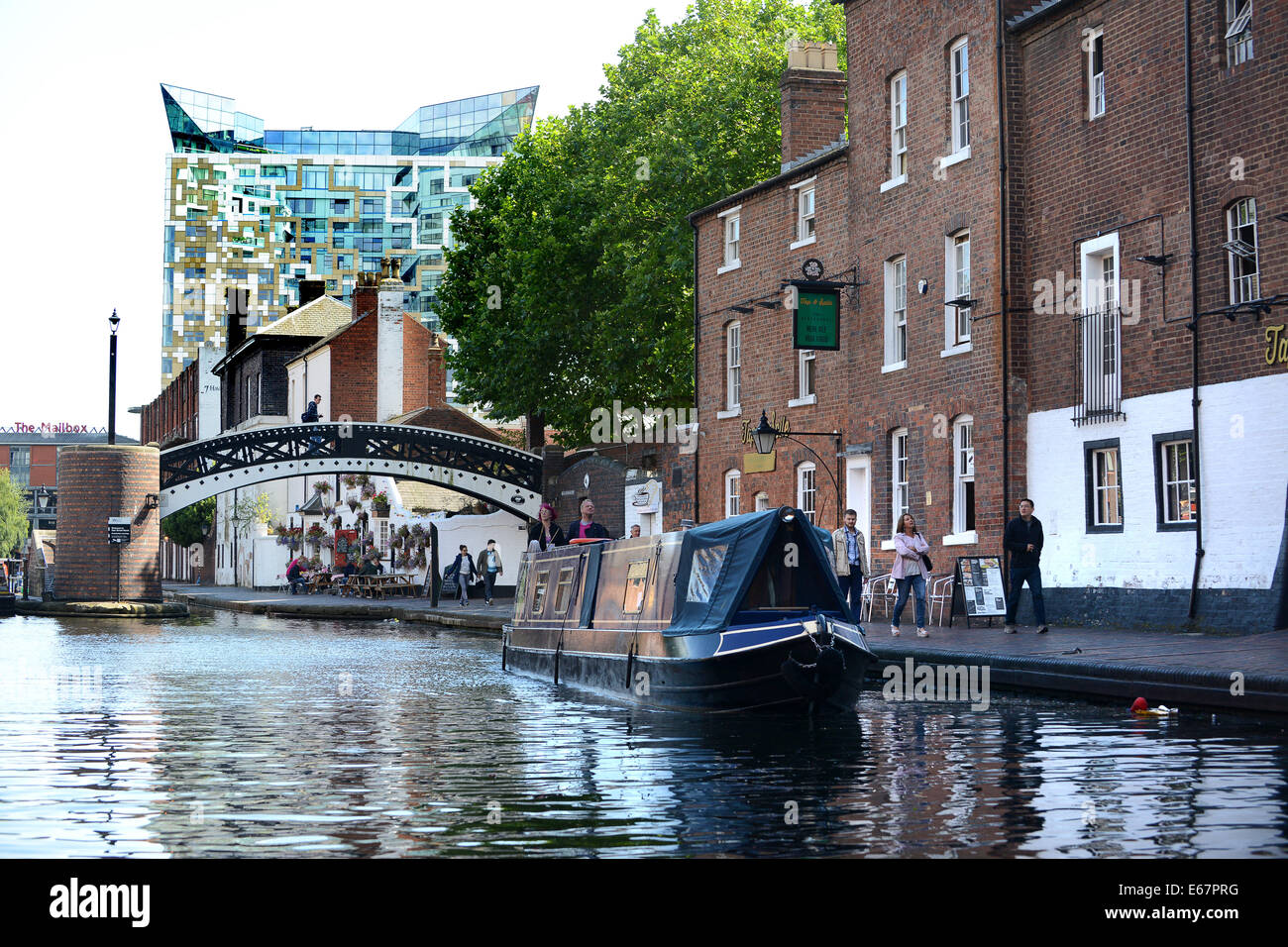 Birmingham canals at Broad Street canal basin in City Centre with old and modern architecture building Uk Stock Photo