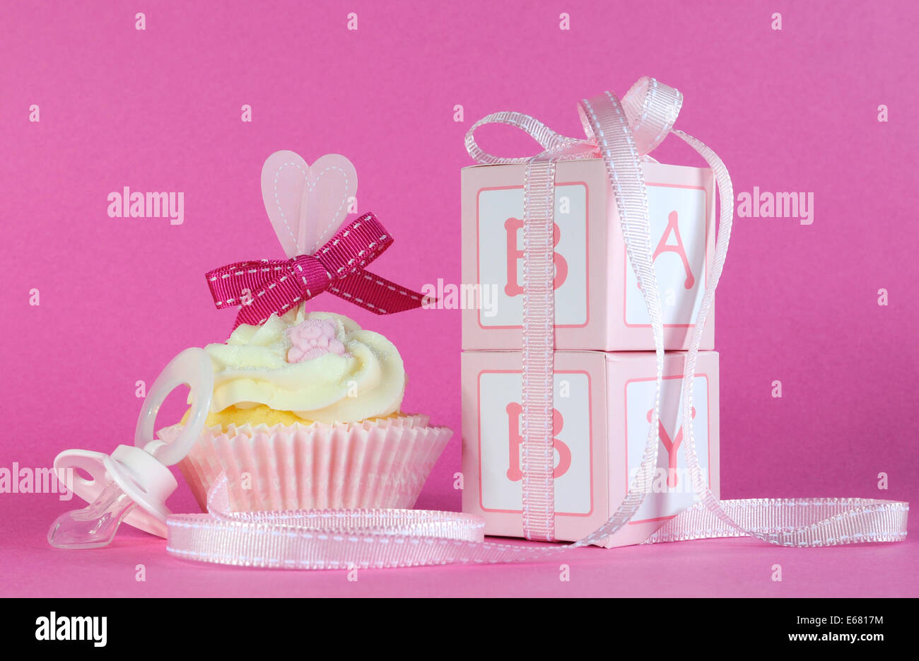 Pink Theme Baby Girl Cupcake With Dummy Pacifier And Favor Gift