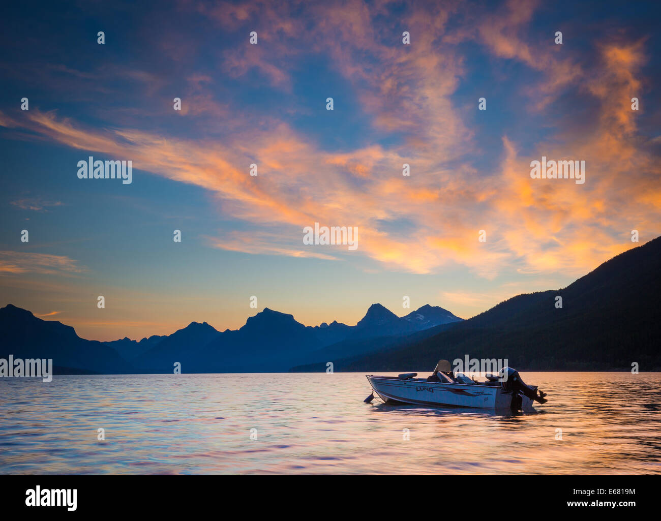 Lake McDonald in Glacier National Park, in Montana near the US-Canada border - Stock Image