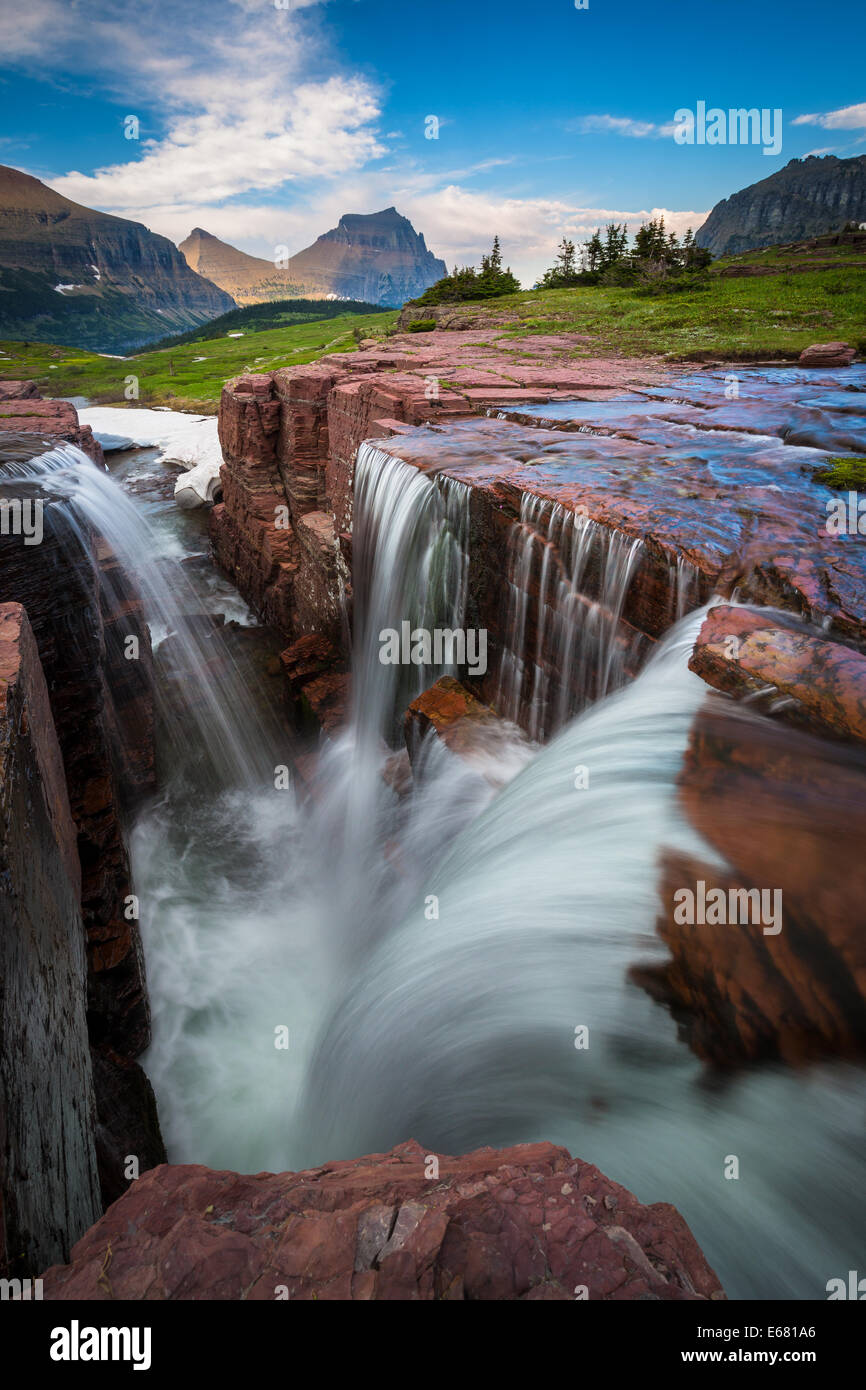 Logan Pass in Glacier National Park, Montana, located near the US-Canada border Stock Photo