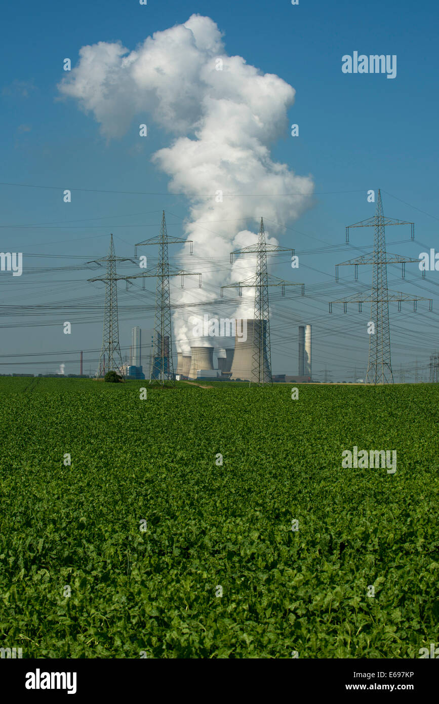 High-voltage power lines in front of the lignite power plant of Bergheim-Niederaußem, arable land at the front - Stock Image