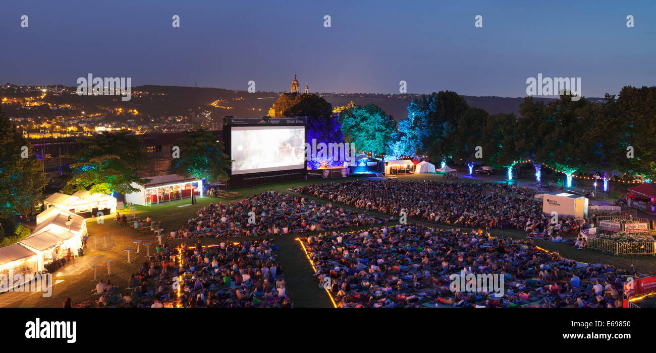 Open-air cinema in the castle courtyard, Esslingen am Neckar, Baden-Württemberg, Germany - Stock Image