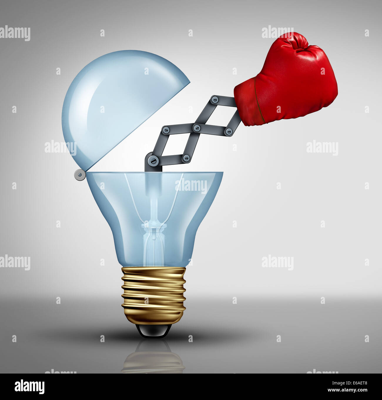 Creative weapon symbol and game changer business concept for the power of ideas and fighting to pitch powerful innovation - Stock Image