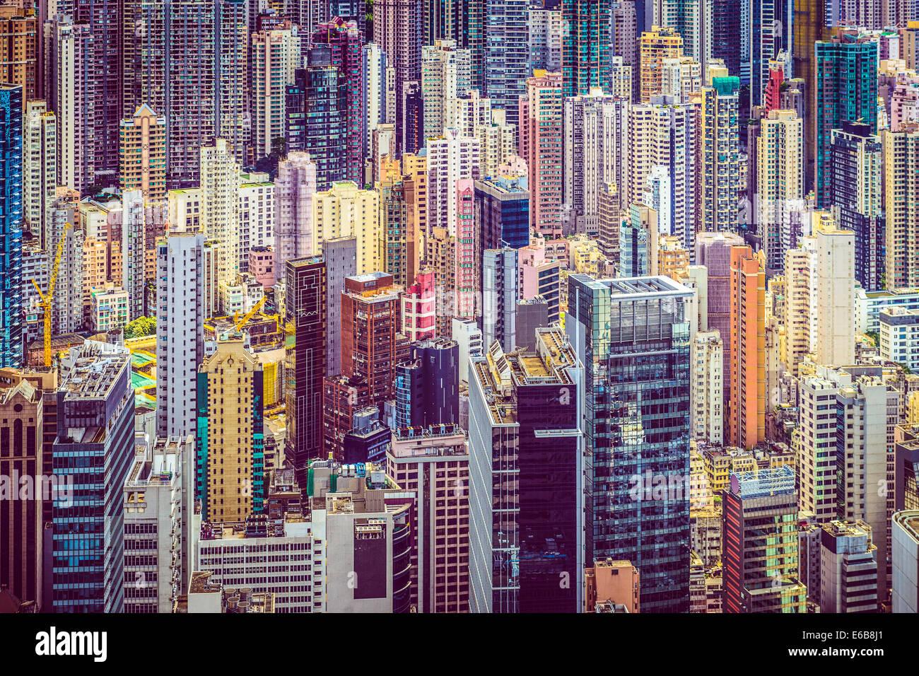 Hong Kong, China financial buildings cityscape. - Stock Image