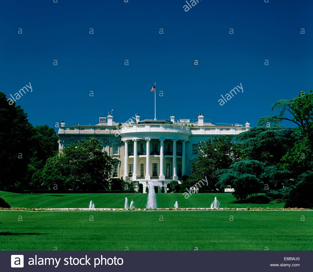 The south lawn of the White House in Washington DC USA Stock Photo