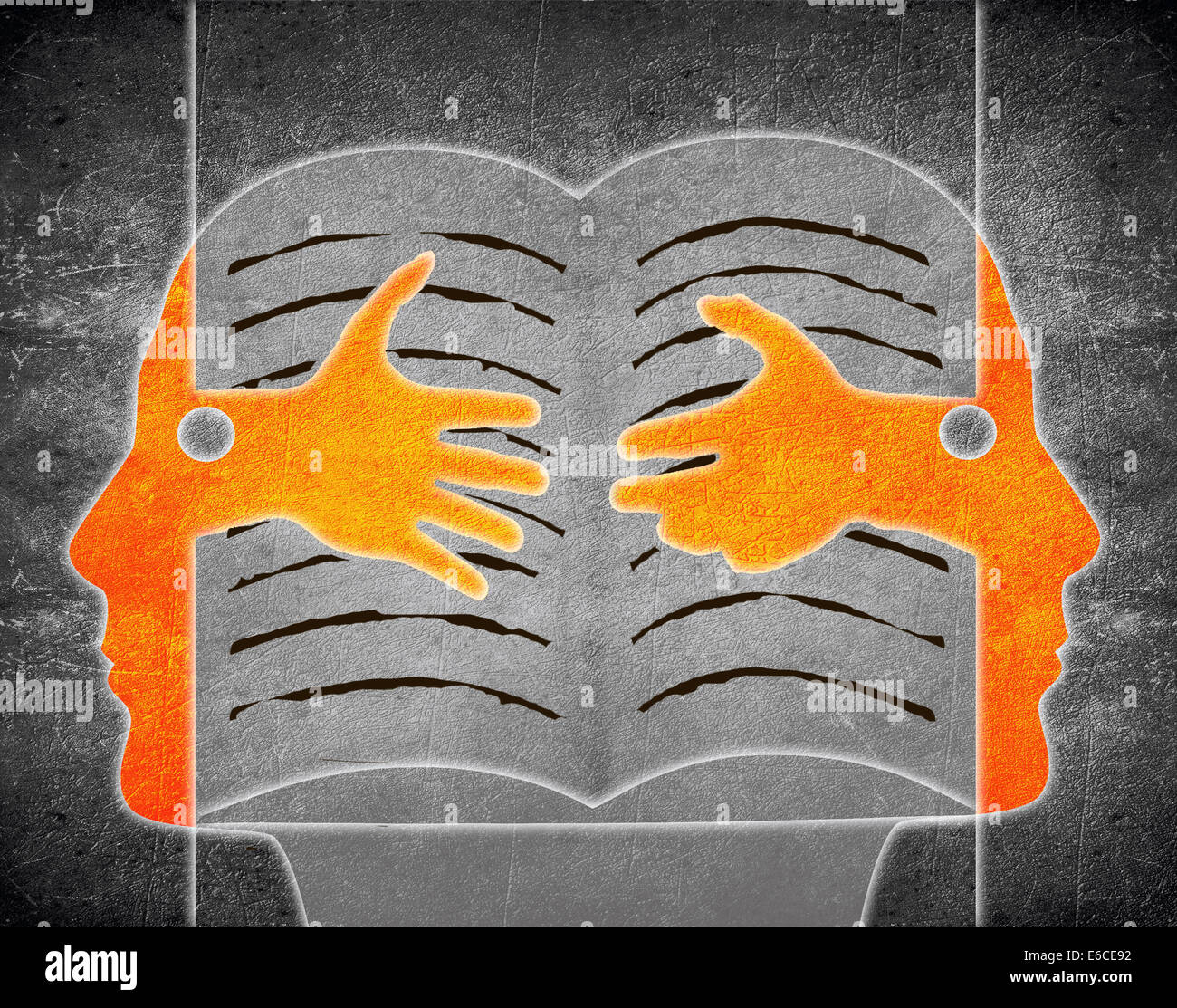 digital illustration with two person and book - Stock Image