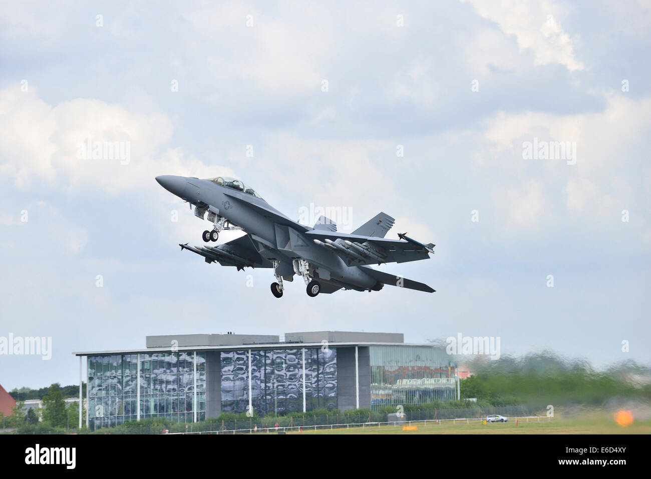 a A Eurofighter Typhoon takes off at Farnborough International Airshow. 2014 - Stock Image
