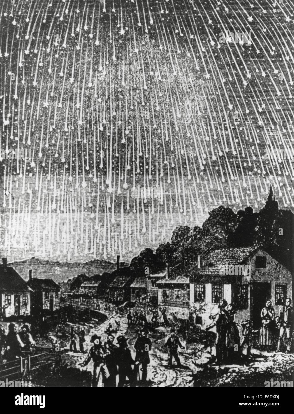 Leonid Meteor Shower of 1833, USA, Illustration