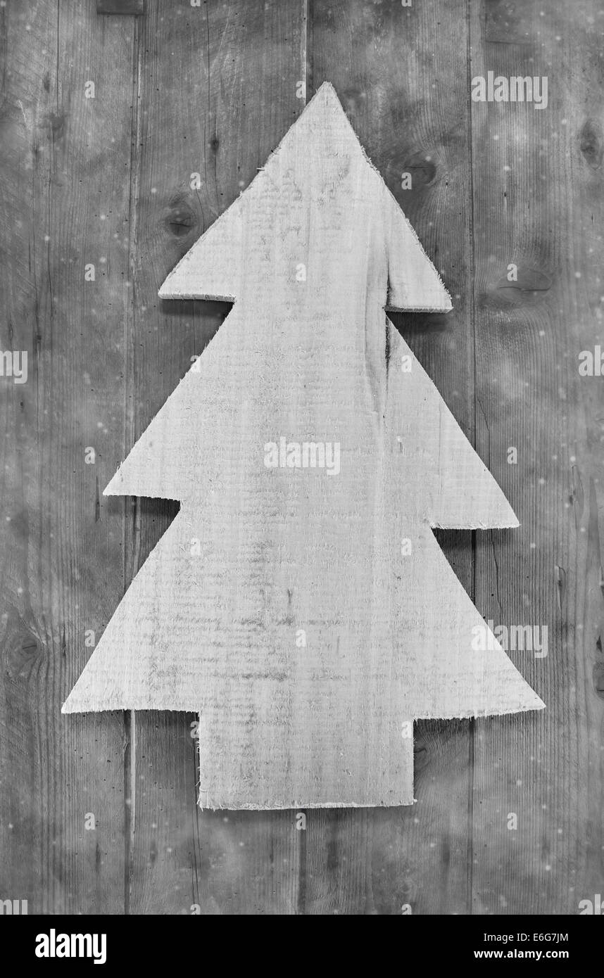 shabby chic christmas decoration handmade carved tree on wooden background in grey color - Handmade Shabby Chic Christmas Decorations