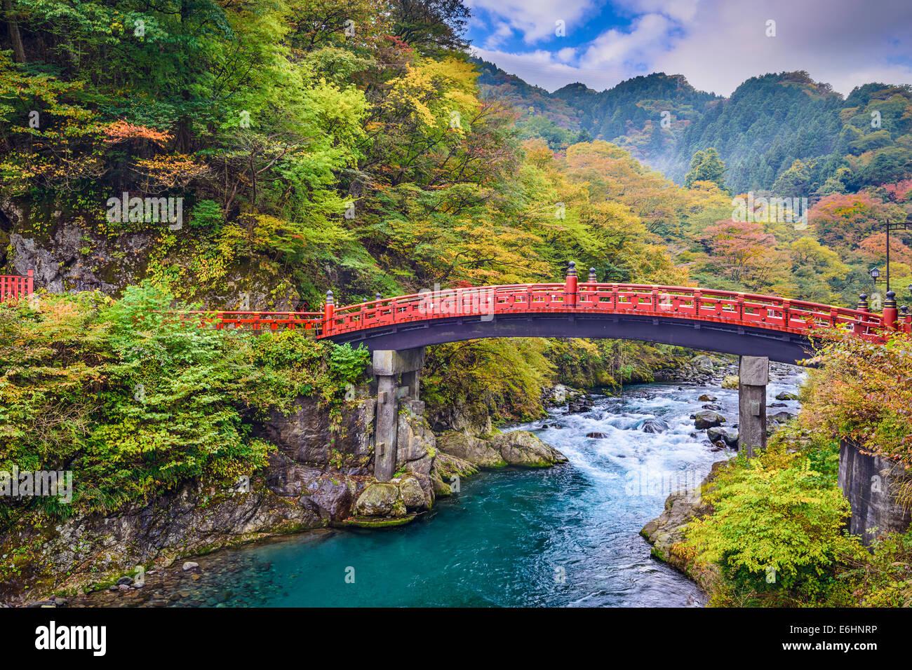 Shinkyo Bridge in Nikko, Japan. Stock Photo