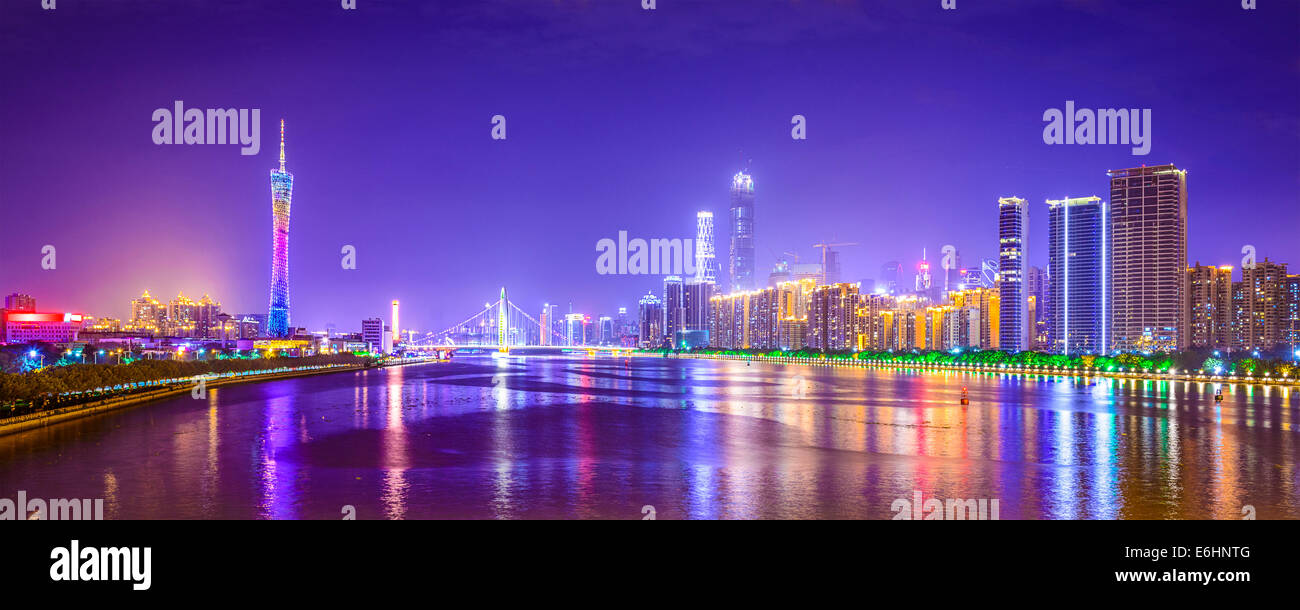 Guangzhou, China city skyline panorama over the Pearl River. - Stock Image