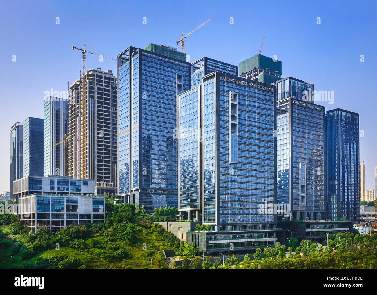 Modern office buildings newly built in Chongqing, China. - Stock Image