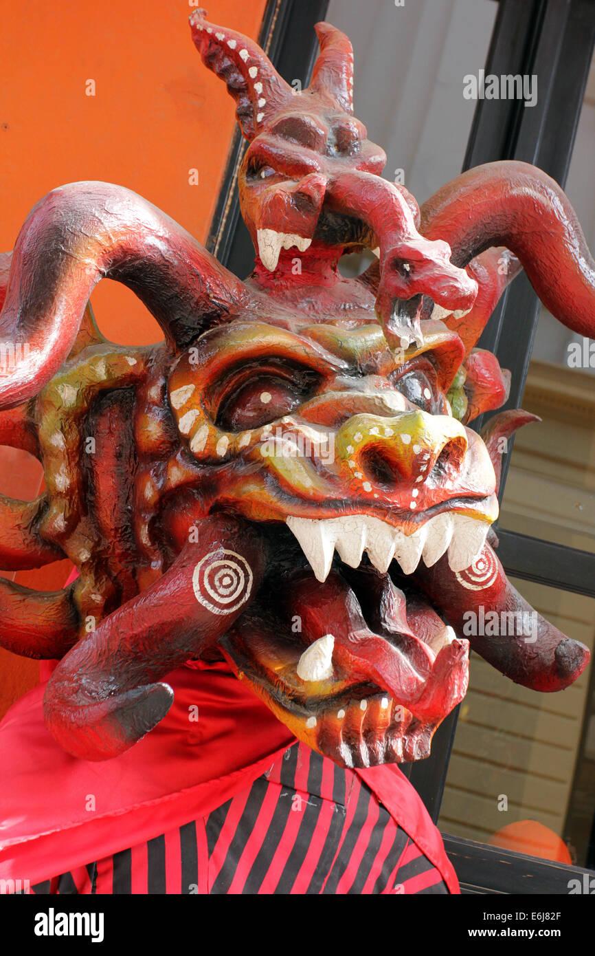 Diablo Sucio mask and costume seen in Panama City's Casco Antiguo. - Stock Image