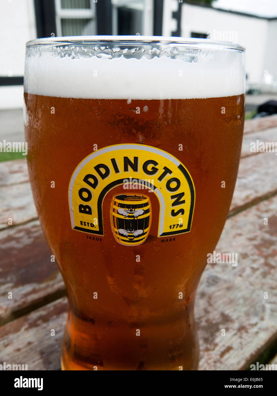 with,a,head,withahead,beer,Boddington,regional,ale,brewed,in,Mossside,pint,glass,boddies,hoppy,widget,draught-style,draught,style,cream,brewing,co,company,Strangeways,whitbread,Anheuser–Busch,InBev,outside,on,a,bench,table,wood,wooden,cask,conditioned,Pub,barrel,regional,national,Madchester,Gotonysmith,the,of,creamOfManchester,bee,bees,logo,city,product,NW,England,UK,GB,Great,britain,Anheuser,Busch,Hydes,Brewery,in,Moss,Side,Kestrel,kegging,facility,prison,HMP,demolished,blandly,foamy,nitrokeg,travesty,of,the,original,version,Buy Pictures of,Buy Images Of