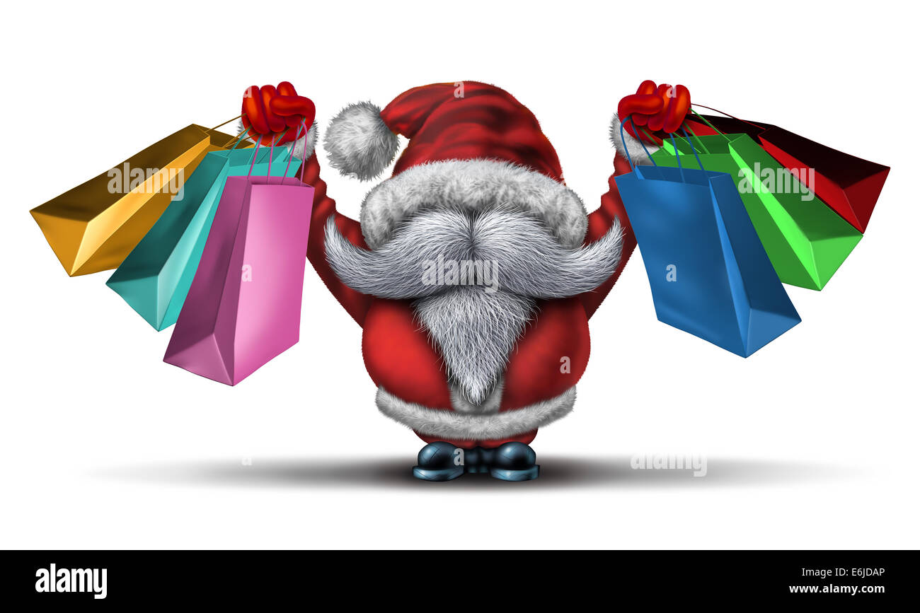 Christmas shopping spree  as a fun Santa clause with a white beard and a red snow costume holding retail gift bags - Stock Image