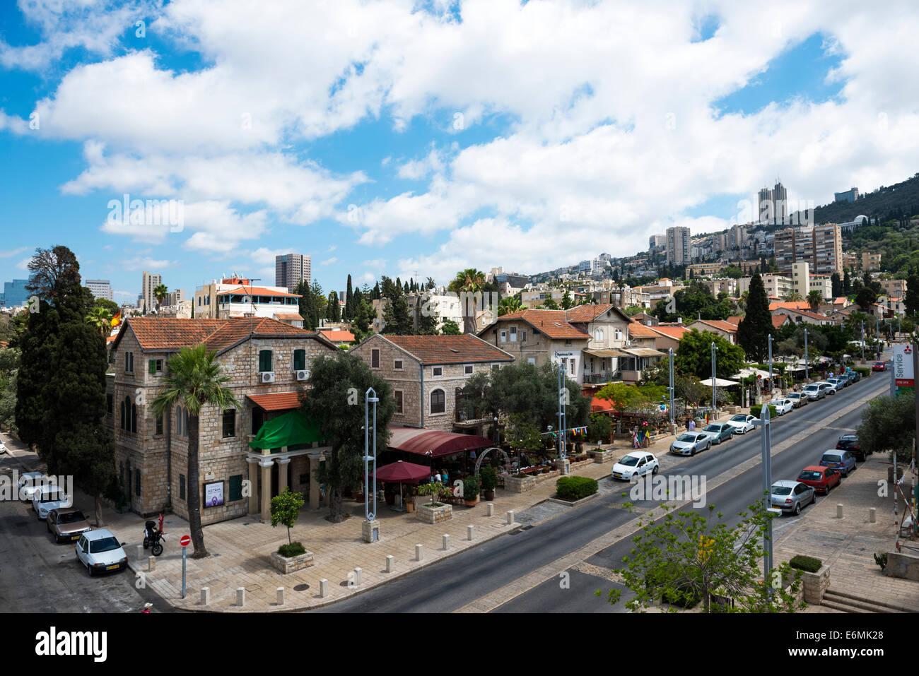 A view of the German colony neighborhood in Haifa. - Stock Image