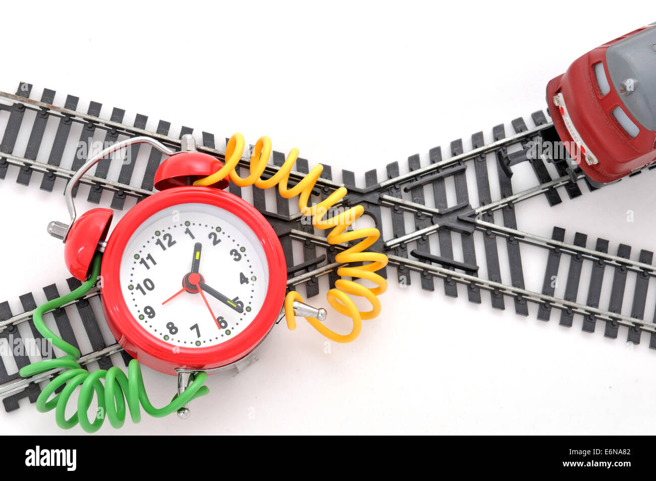 Train and time bomb on the white background. Robbery Concept. - Stock Image