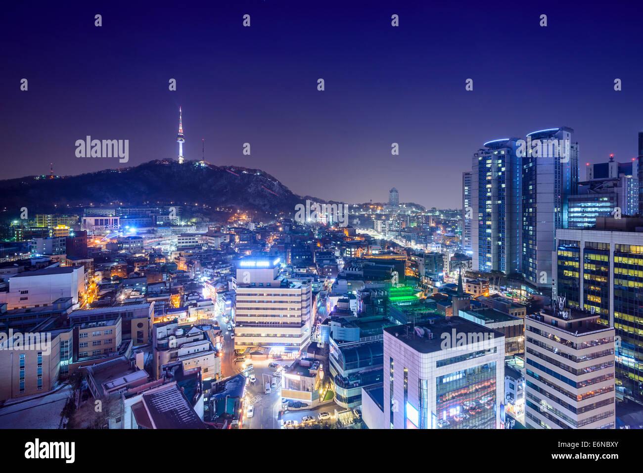 Seoul, South Korea skyline at night. - Stock Image