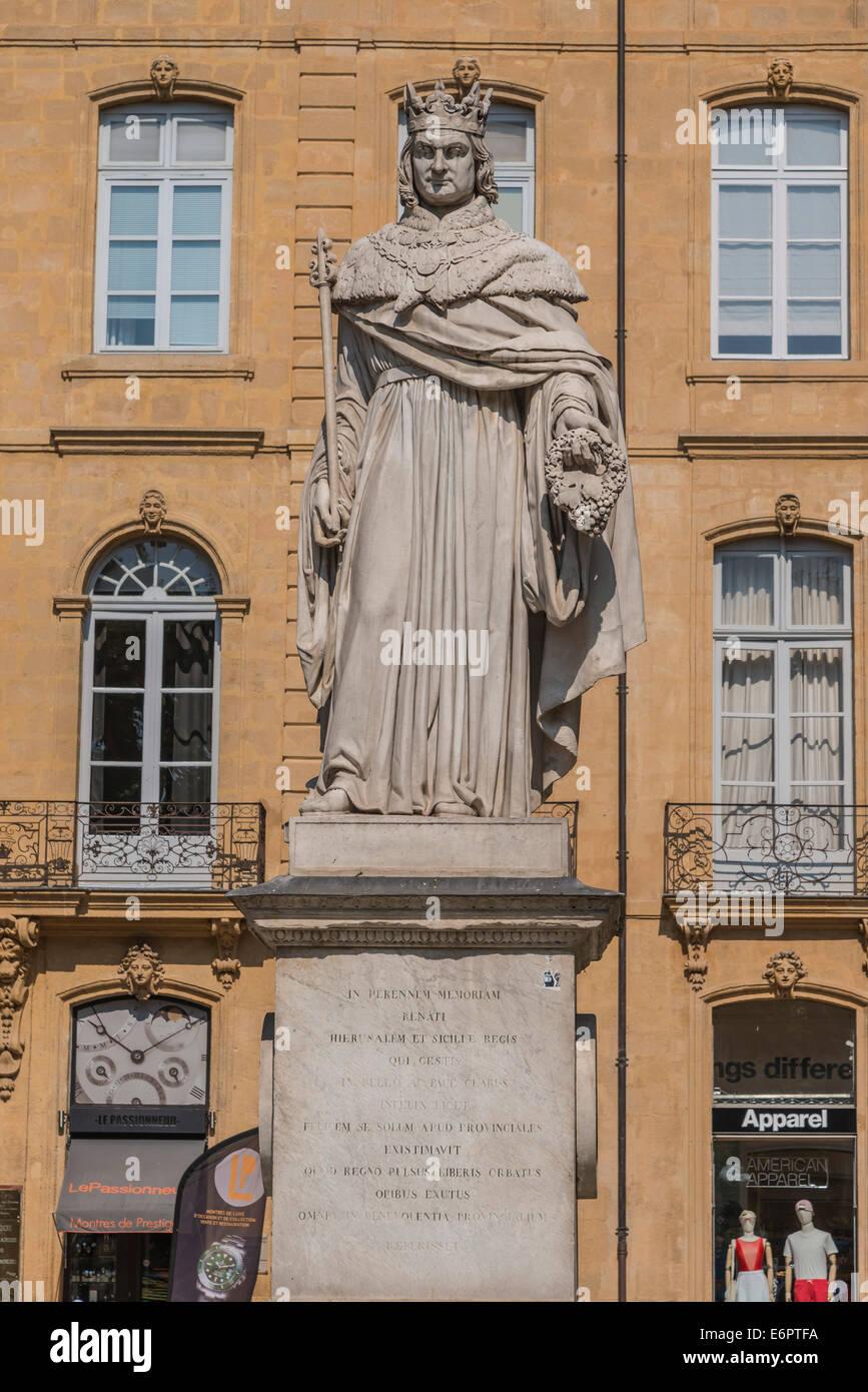 Statue of King René I, Cours Mirabeau, Aix-en-Provence, Bouches-du-Rhône, Provence-Alpes-Côte d'Azur, - Stock Image