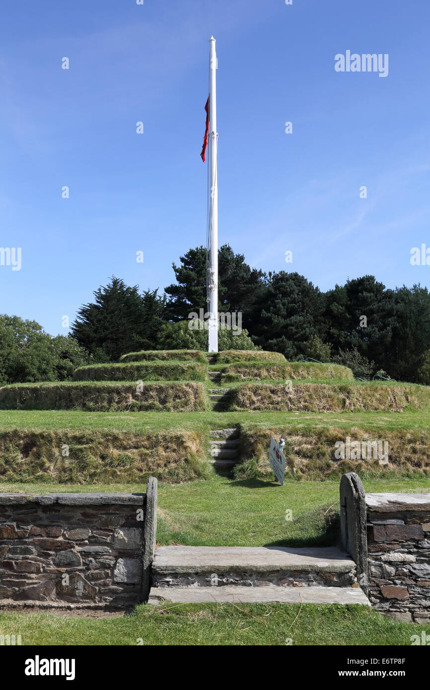the manx government meets at tynwald hill or parliament field once per year. Stock Photo
