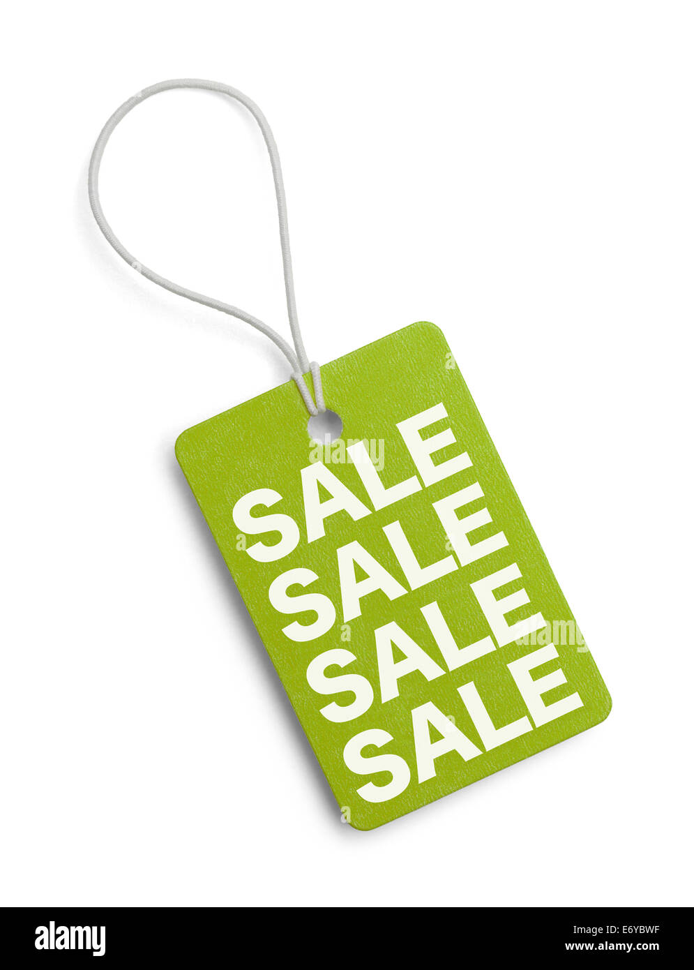 Green Sales Tag Isolated on White Background. - Stock Image