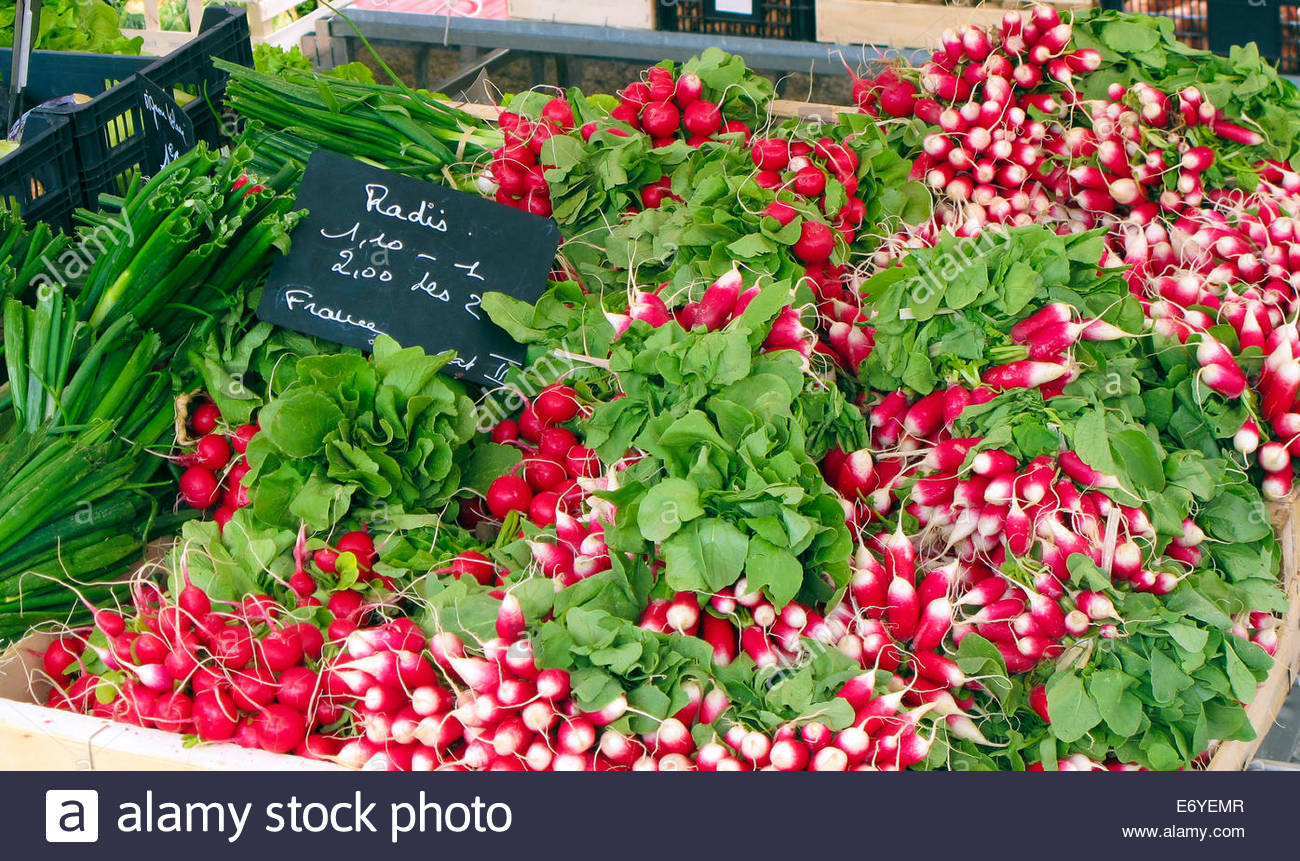 Radishes on a vegetable stall - Stock Image