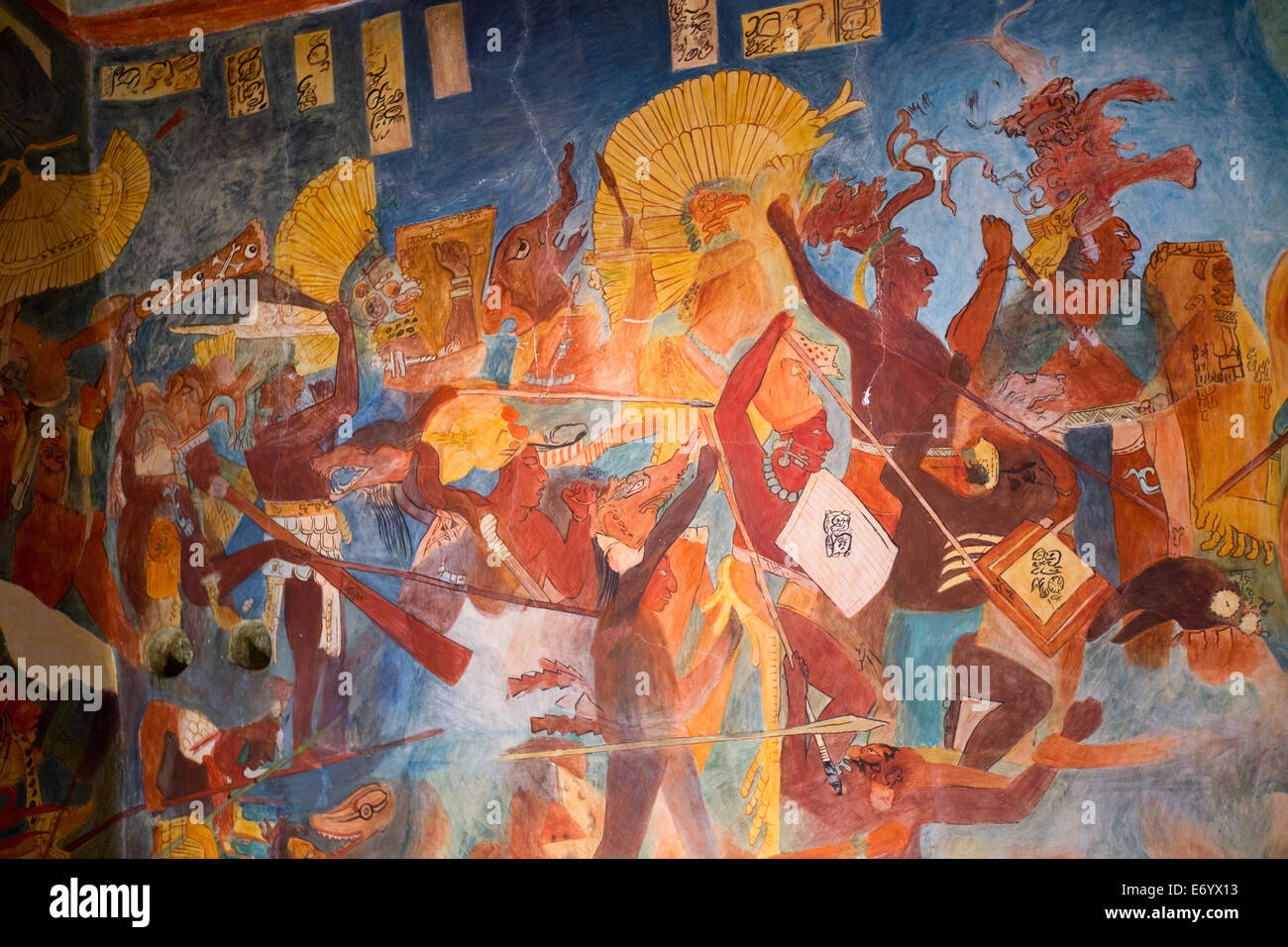 Mexico, Mexico City, National Museum of Anthropology, Reproduction of Bonampak Murals, Room 2 - Stock Image