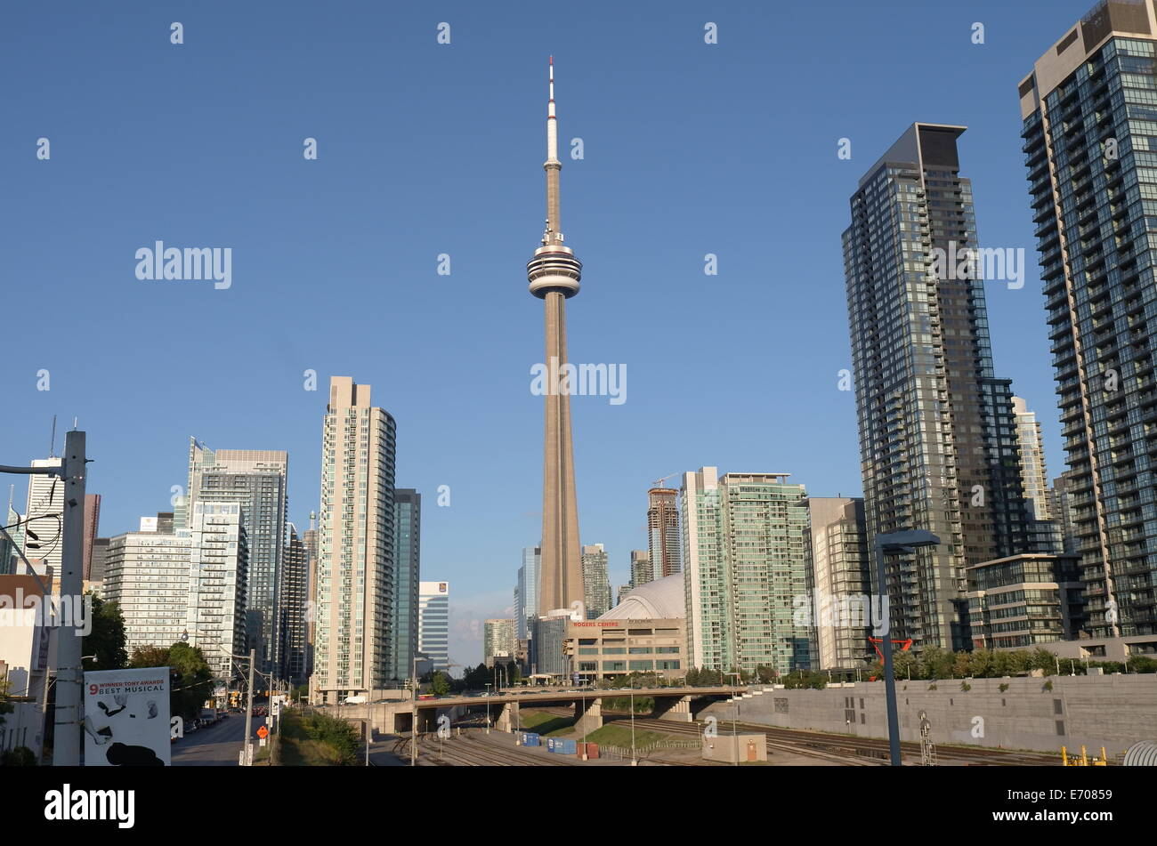View of downtown Toronto and CN Tower - Stock Image