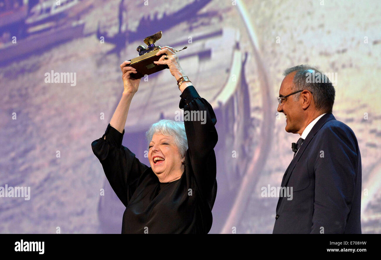 Venice, Italy. 2nd Sep, 2014. American film editor Thelma Schoonmaker recieves the Golden Lions for Lifetime Achievement Stock Photo