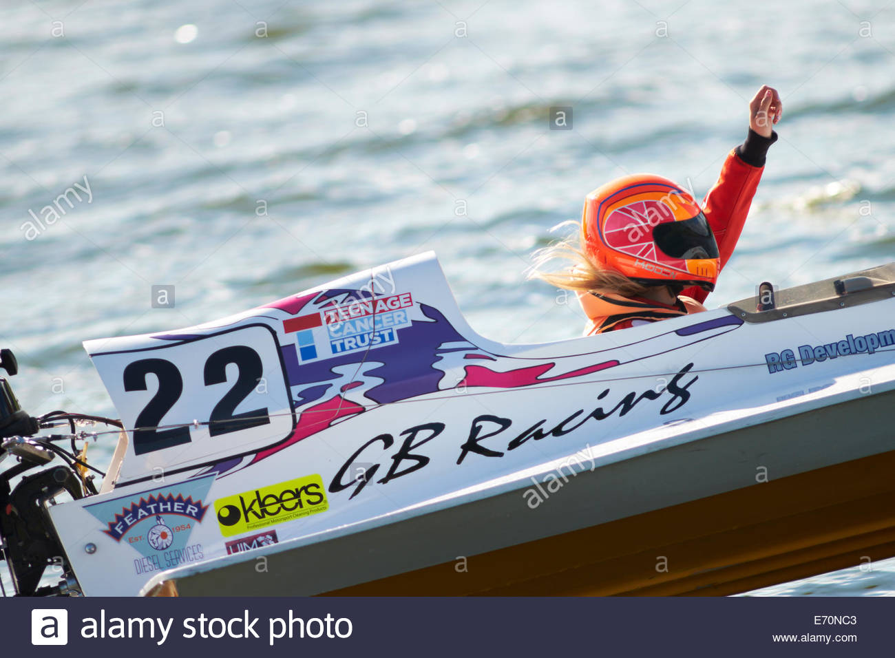 Jessica Beaumont, GBR, #22 UIM GT15 European Championship, 2014 free practice, hand up to advise she is slowing Stock Photo