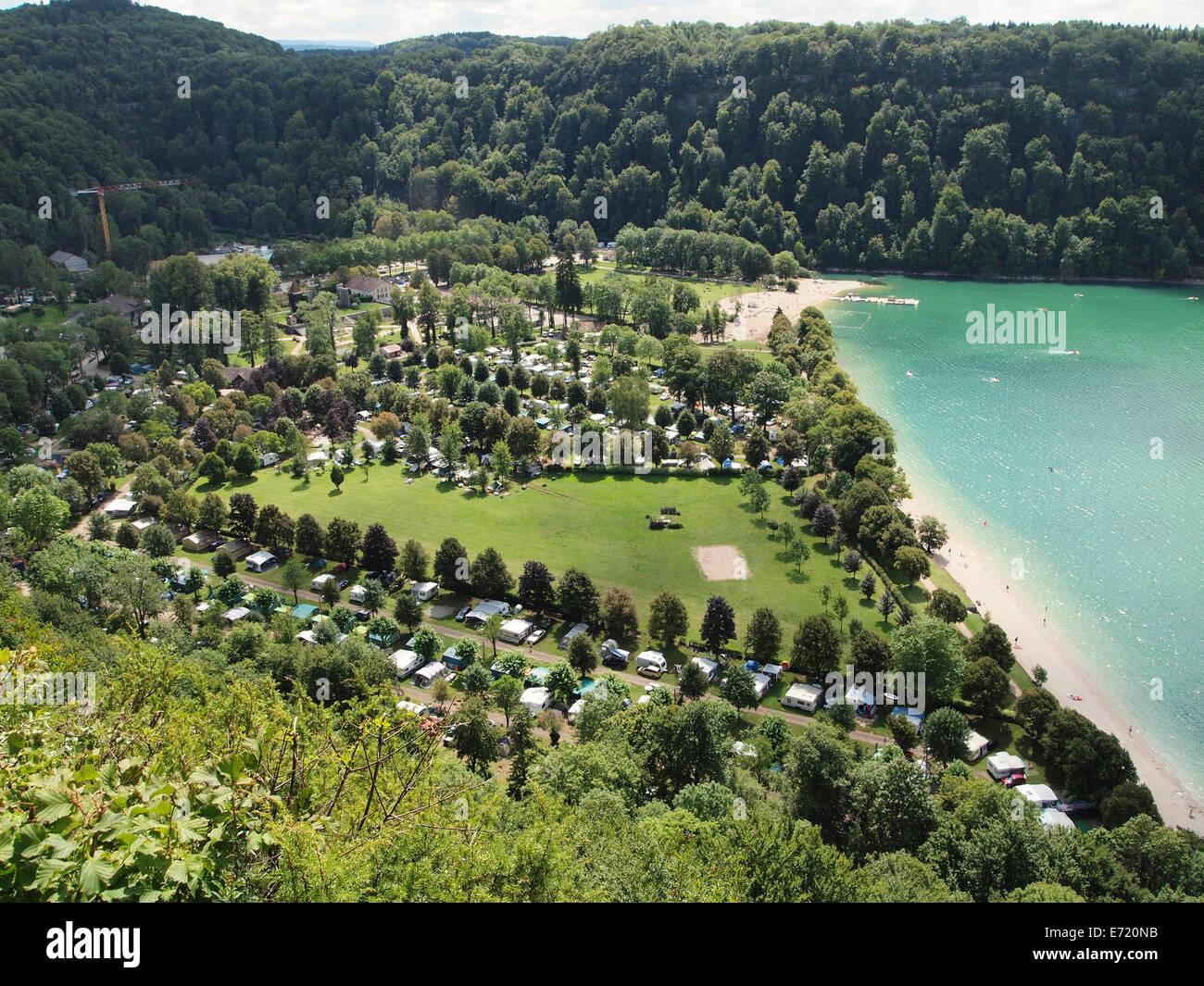 Domaine de Chalain camping site on Lac de Chalain lake, Jura, France - Stock Image