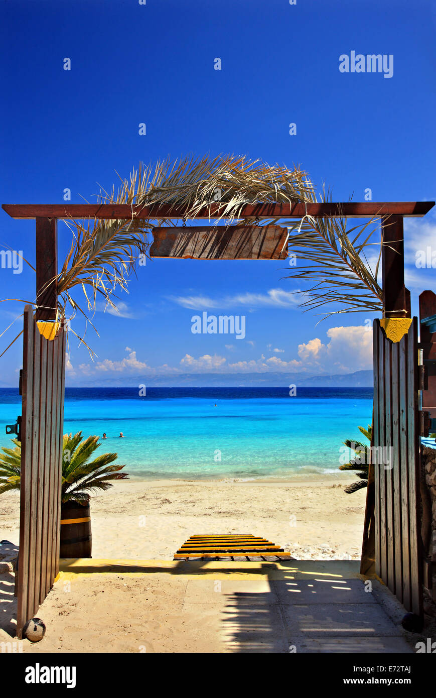 Gate to the exotic Vrika beach, Antipaxos ('Antipaxi') island, Ionian Sea, Eptanisa ('Seven Islands'), - Stock Image