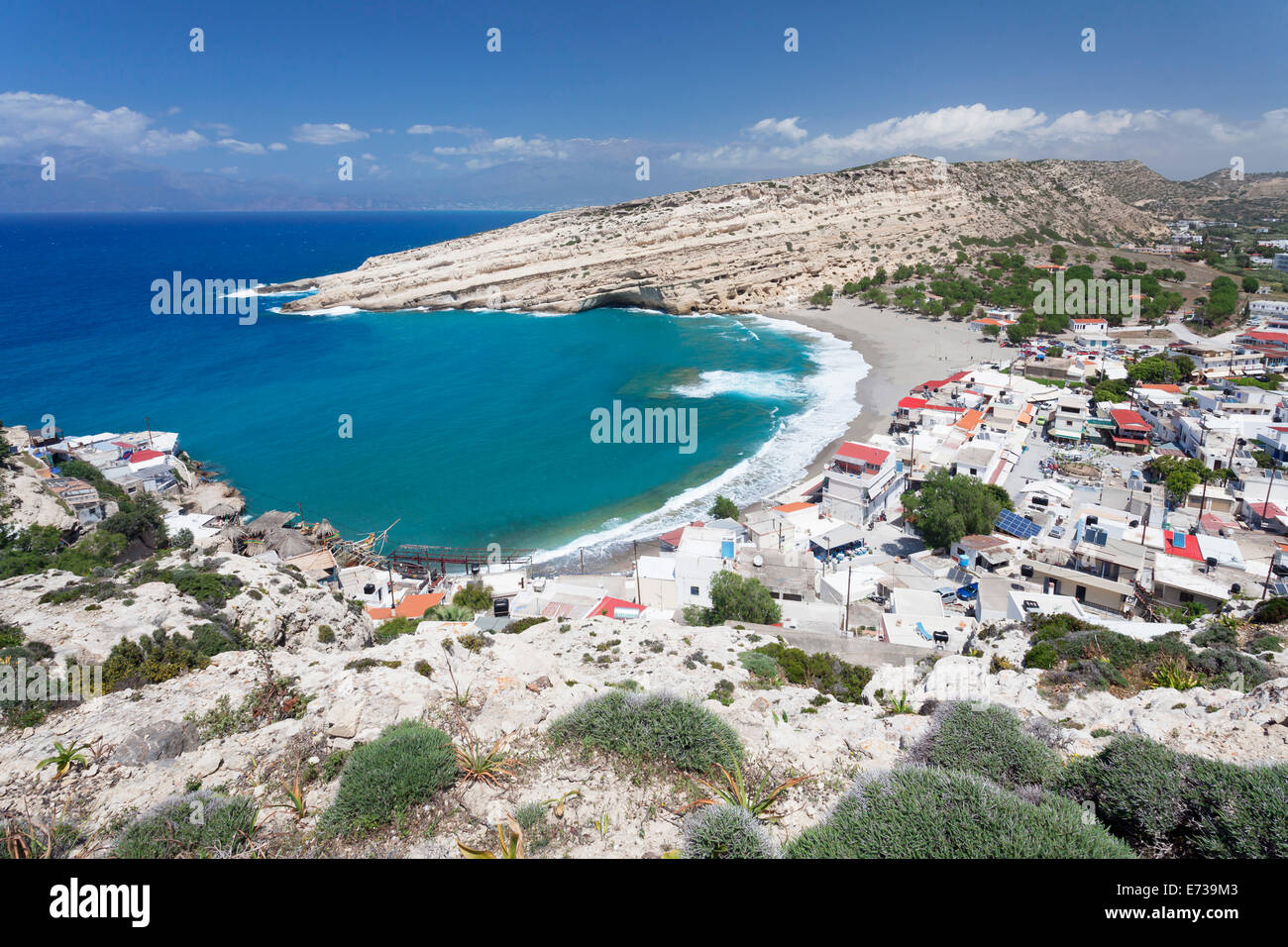 Matala Bay and Beach, Heraklion District, Crete, Greek Islands, Greece, Europe Stock Photo