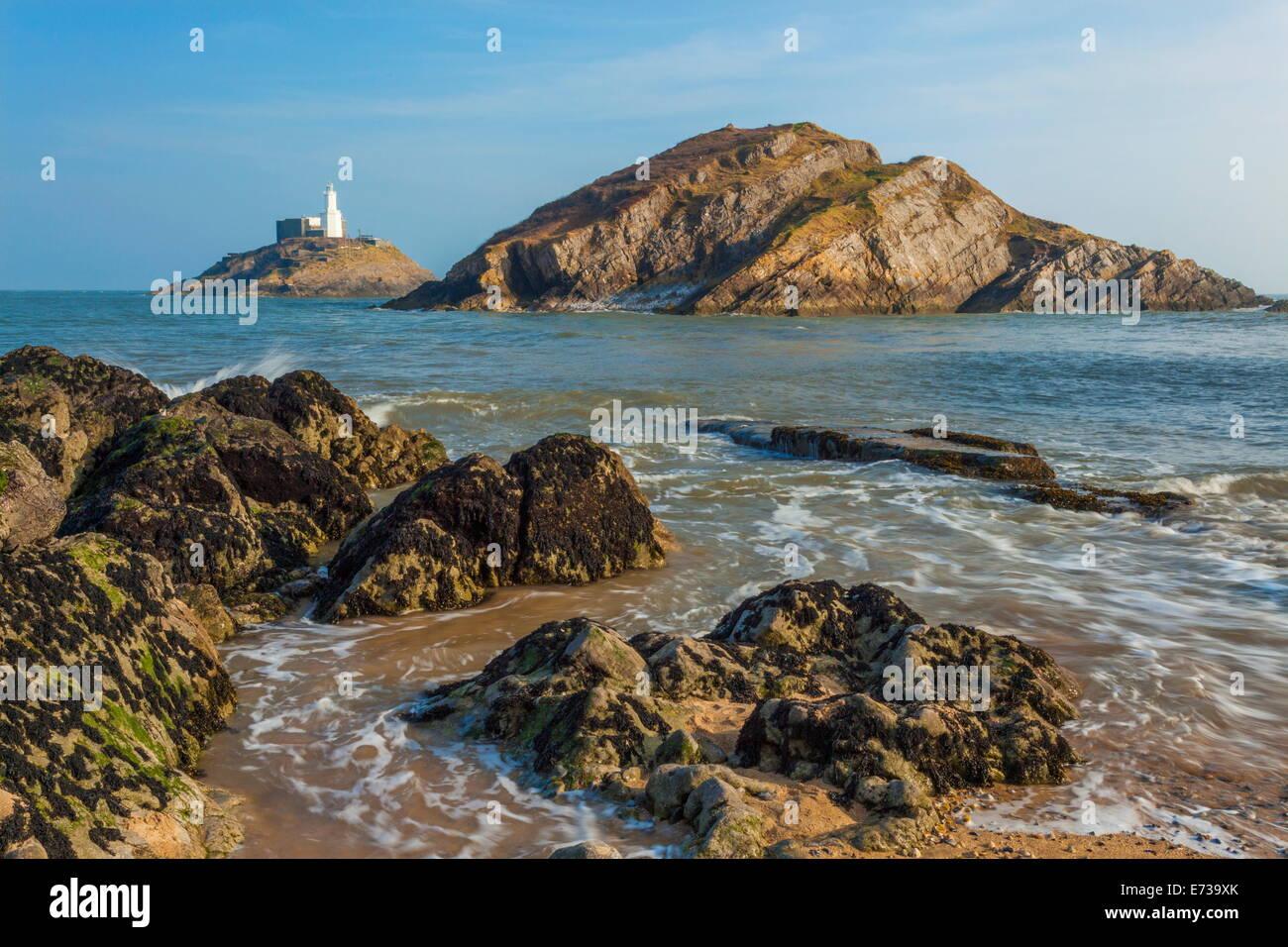 Mumbles Lighthouse, Bracelet Bay, Gower, Swansea, Wales, United Kingdom, Europe - Stock Image