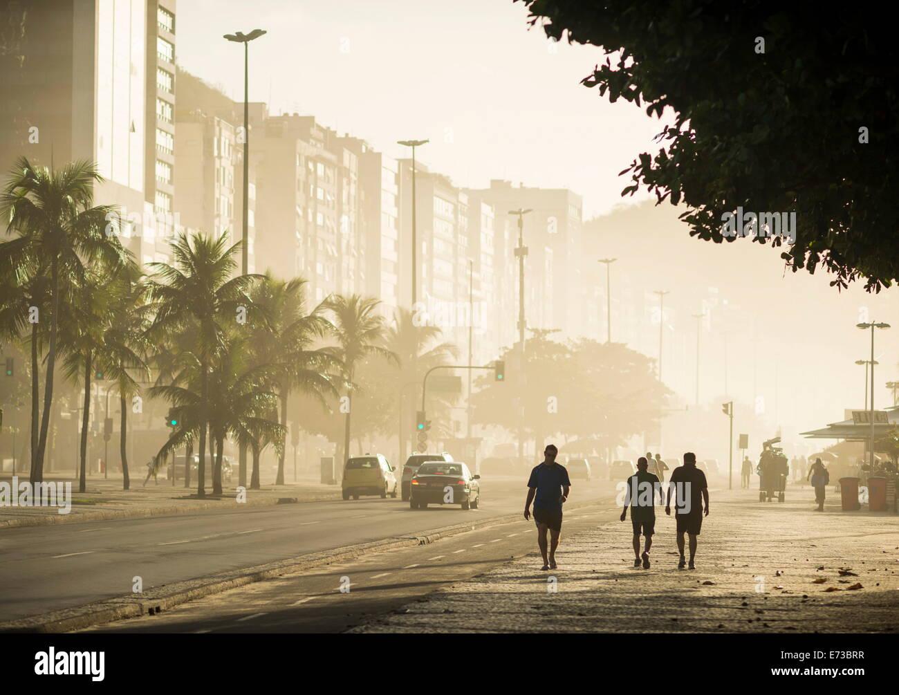 Copacabana Beach at dawn, Rio de Janeiro, Brazil, South America - Stock Image