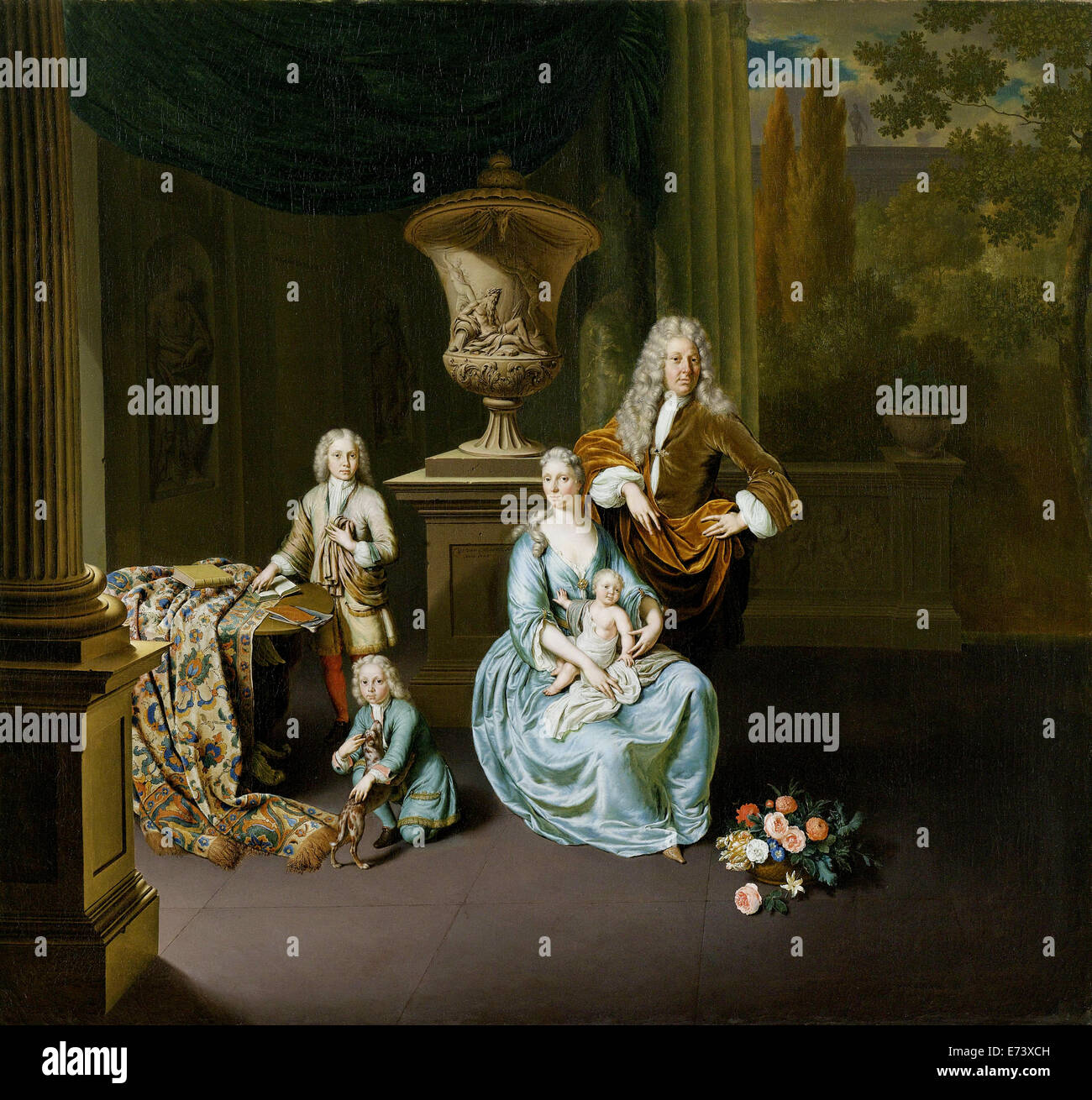 Diederik van Leyden Baron van Vlaardingen (1695-1764) with his wife and three sons- by Willem van Mieris, 1728 - Stock Image