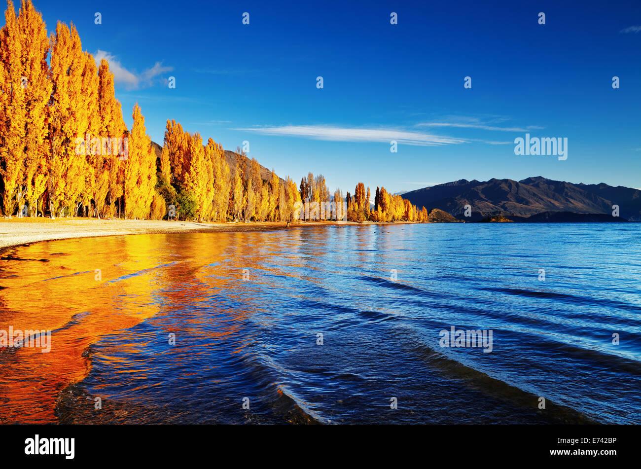 Autumn landscape, lake Wanaka, New Zealand - Stock Image