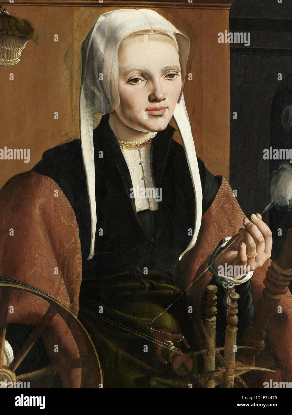 Portrait of Anna Codde - by Maarten van Heemskerck, 1529 - Stock Image